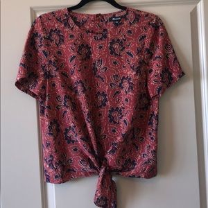 Madewell Silk Button Back Tie Front Blouse